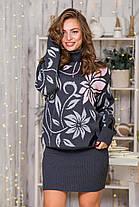 Шикарний теплий жіночий светр під горло розмір 44-52, фото 2