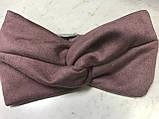 Широка пов'язка-чалма з экозамши колір бордо, фото 4