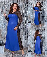 Нарядное вечернее длинное платье из шёлка армани с блеском+сетка флок с глитером, длинный рукав сеткой (50-56) Электрик