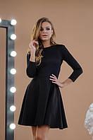 Вечернее короткое платье из креп дайвинга с напылением + гипюр, открытая спина, юбка клёш (42-46), фото 1