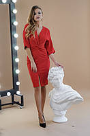 Вечернее платье из креп дайвинга, широкий рукав, V-образный вырез, разрез спереди юбки (42-46), фото 1
