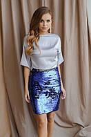 Короткая стильная юбка из дайвинга + пайетка хамелеон двусторонняя, на подкладе, сбоку змейка (42-44), фото 1