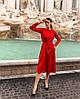 Жіночне шовкове плаття міді з довгим рукавом та поясом (42-48)