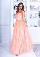 Очаровательное нежное платье в пол из ажурной сетки+атлас+фатин, без рукавов, пышной юбкой (42-46), фото 1