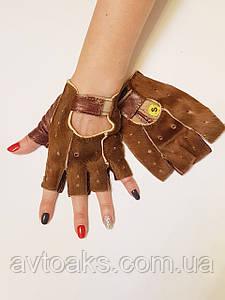Перчатки без пальцев S с коричневым мехом