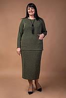 Трикотажный женский костюм больших размеров хаки