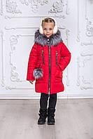 Зимнее пальто для девочки красного цвета размеры 30-38 на рост 116-146