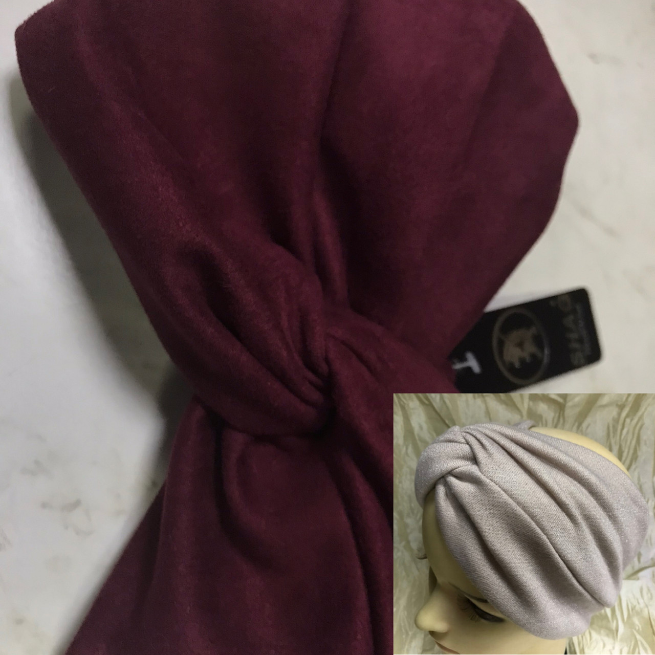 Широка пов'язка-чалма з экозамши колір бордо