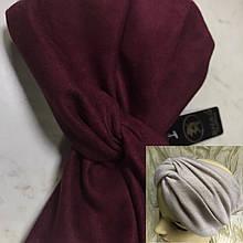 Широкая повязка-чалма из экозамши цвет бордо