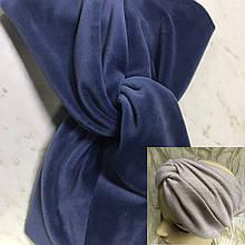 Широкая повязка-чалма из велюра  цвет голубая