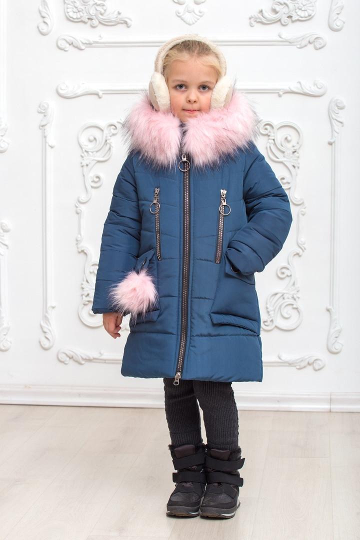 Модное зимнее пальто для девочки с мехом на капюшоне размеры 30-38 на рост 116-146