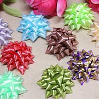 Бант для подарочной упаковки Bow 6см, в упаковке 12шт, разные цвета, полиэстер, лента, бант, новогодние банты, упаковочный бантик