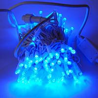 Гирлянда уличная нить (String) IP65, 100LED синяя, белый провод