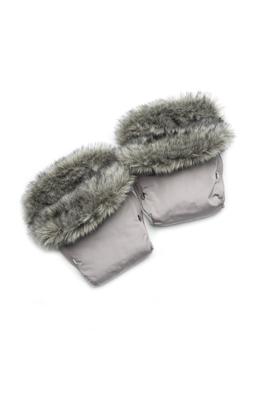 Теплые рукавички-муфта для коляски или санок с флисовой подкладкой и меховой опушкой.