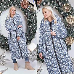 Красиве довге осінньо-зимове жіноче пальто з плащової тканини з малюнком, батал великі розміри