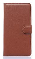 Кожаный чехол-книжка для Huawei Honor 4C коричневый