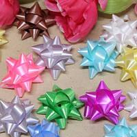 Бант для подарочной упаковки Bow 5см, в упаковке 24шт, разные цвета, полиэстер, лента, бант, новогодние банты, упаковочный бантик