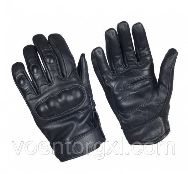 Тактические перчатки кожаные, с кастетами. Mil-Tec, Германия. (Black)