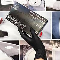 Нитриловые перчатки размер S одноразовые NITRILUX-BLACK 100шт/уп