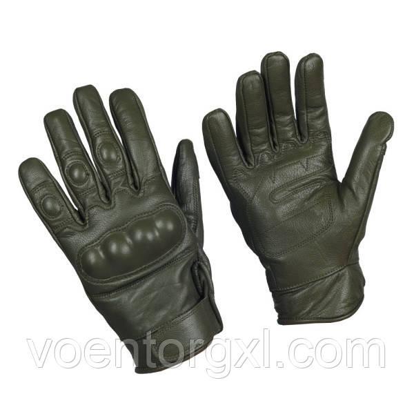 Тактичні рукавички шкіряні, з кастетами. Mil-Tec, Німеччина. (Olive)