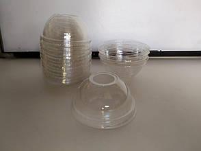 Одноразовая ПЕТ крышка круглая с отверстием прозрачная, фото 2