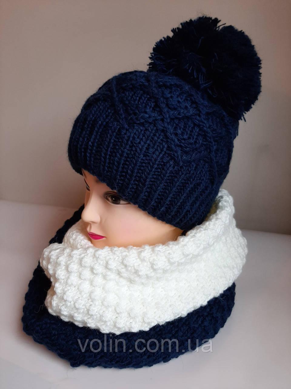 Зимние женские комплекты шапка и снуд, Ирма.