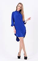 Легкое платье ассиметрия (синее)