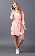 Легкое платье ассиметрия (розовое)