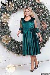 Нарядное платье больших размеров бархат+кружево,midi открытое декольте