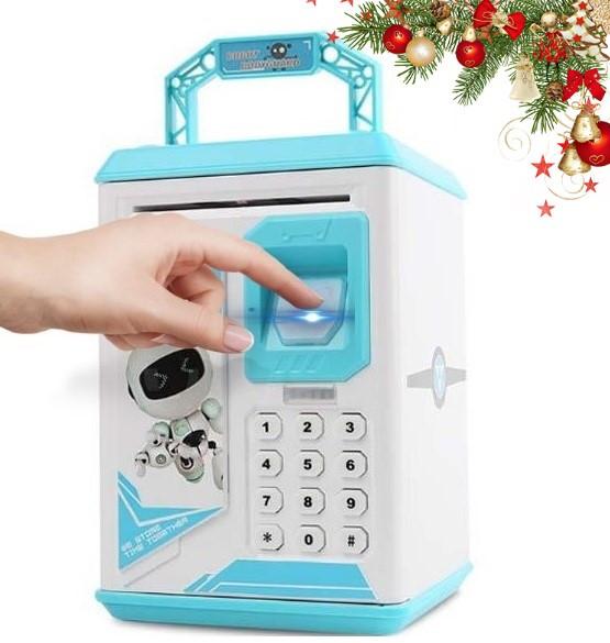 Электронная Копилка сейф с отпечатком пальца и кодовым замком «Электронный сейф» + купюроприемник | Blue