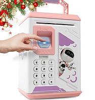 Электронная Копилка сейф с отпечатком пальца и кодовым замком «Электронный сейф» + купюроприемник | Pink