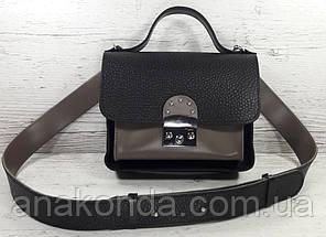 571-к Сумка женская натуральная кожа, кросс-боди с широким ремнем черная кофейная на широком ремне сумка кожа, фото 2