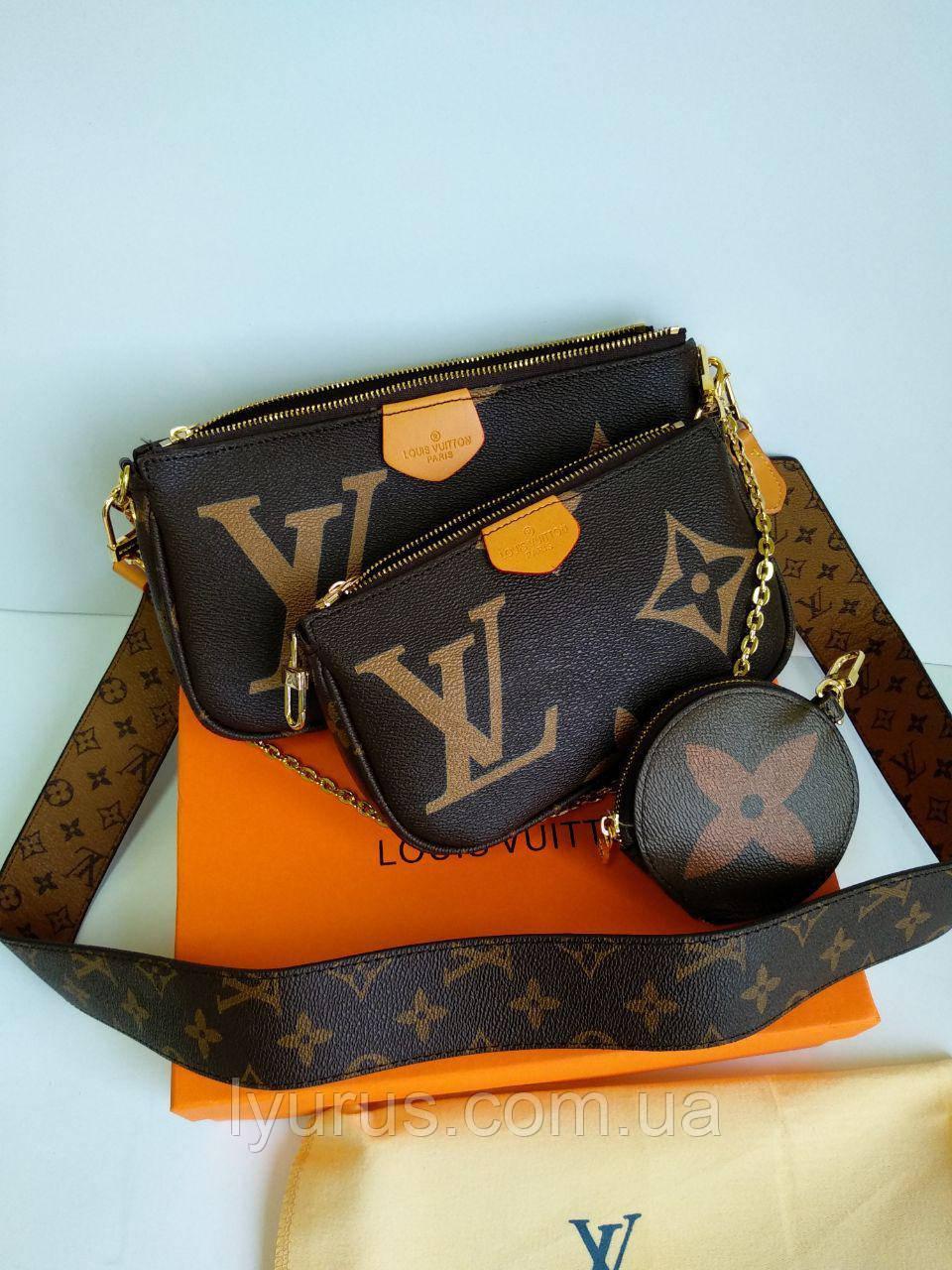 Женская сумка клатч Louis Vuitton Multi Pochette принт LV (Луи Витон)
