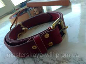 Кожаный ремень ручной работы, цвета вишня (30 см)