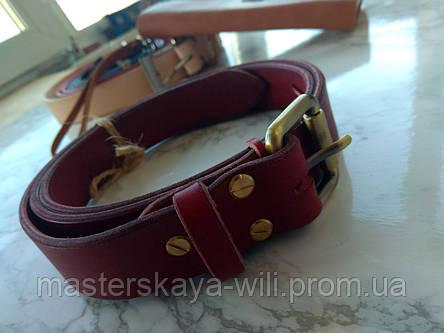 Кожаный ремень ручной работы, цвет вишня (30 см), фото 2