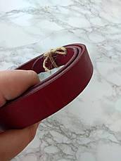 Кожаный ремень ручной работы, цвет вишня (30 см), фото 3