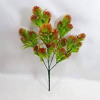 Зеленая с красным пихта 34см искусственный куст, фото 1