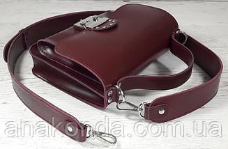 575 Натуральная кожа Сумка женская фиолетовая через плечо Кожаная сумка с широким ремнем баклакжановая, фото 3