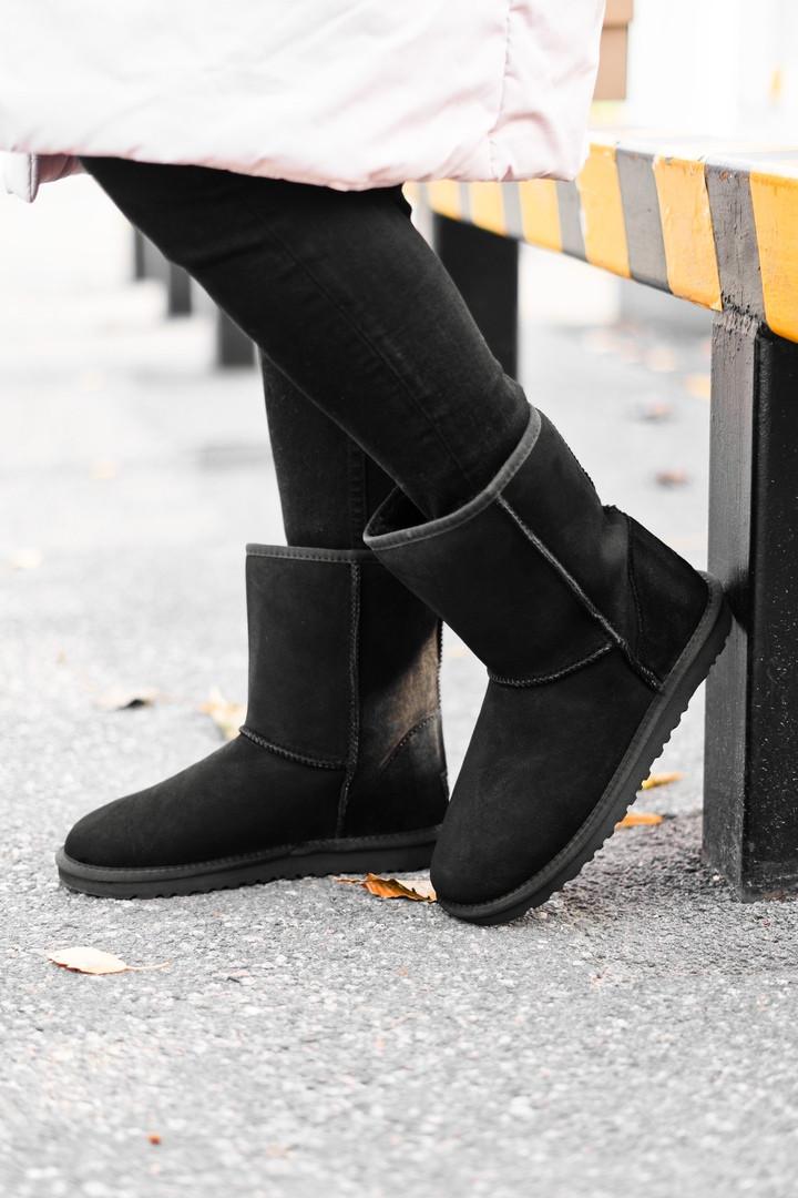 Женские Ugg Classic Short Black, женски угги, черные женски угги низкие, зимние женские угги