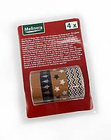 F1-00480, Декоративний скотч, клейка стрічка, набір 4 шт, , коричневий