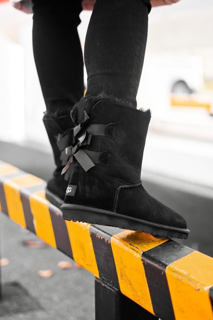 Женские кожаные зимние Ugg Classic Short (black), женски угги, черные кожаные угги,