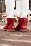 Женские Ugg Mini Bailey Bow (Wine), зимние красные женски угги низкие (Реплика ААА), фото 2