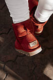 Женские Ugg Mini Bailey Bow (Wine), зимние красные женски угги низкие (Реплика ААА), фото 7