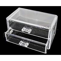 Двухярусный контейнер для косметики и бижутерии SF-1005-3, пластиковый, бесцветный, кейсы для мастеров маникюра, все для маникюра, контейнера для