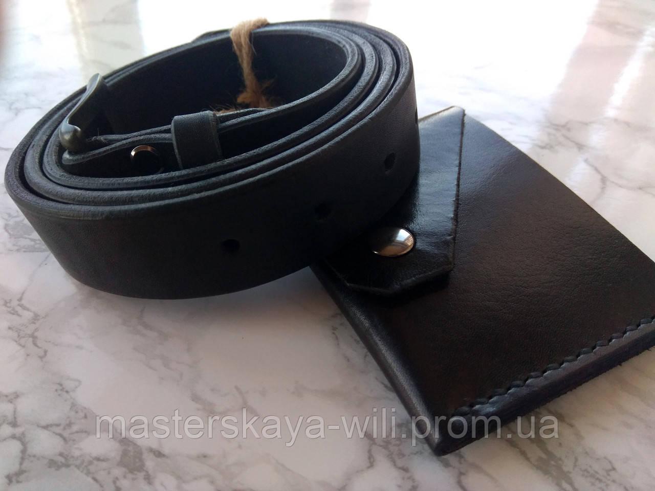 Кожаный ремень ручной работы, цвет черный (30 см)