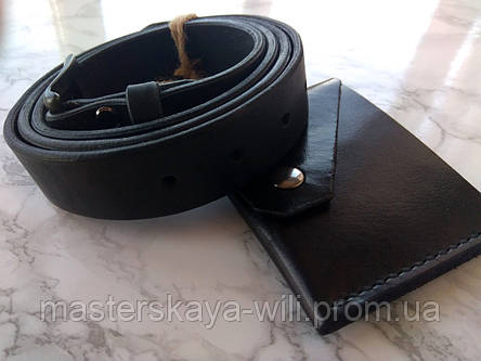 Кожаный ремень ручной работы, цвет черный (30 см), фото 2