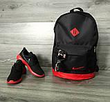 Рюкзак міський Nike (Найк) шкіряне дно, спортивний. Чорний з червоним вставками. Молодіжний, стильний., фото 7