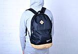 Міський рюкзак, портфель NIKE / Найк з шкір. дном. Стильний, молодіжний. Чорний з бежевим, фото 7