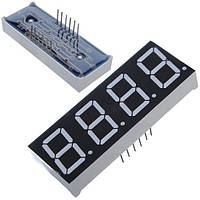 """4-разрядный 7-сегментный индикатор 0.5"""" красный 12pin катод Arduino (FD0381)"""