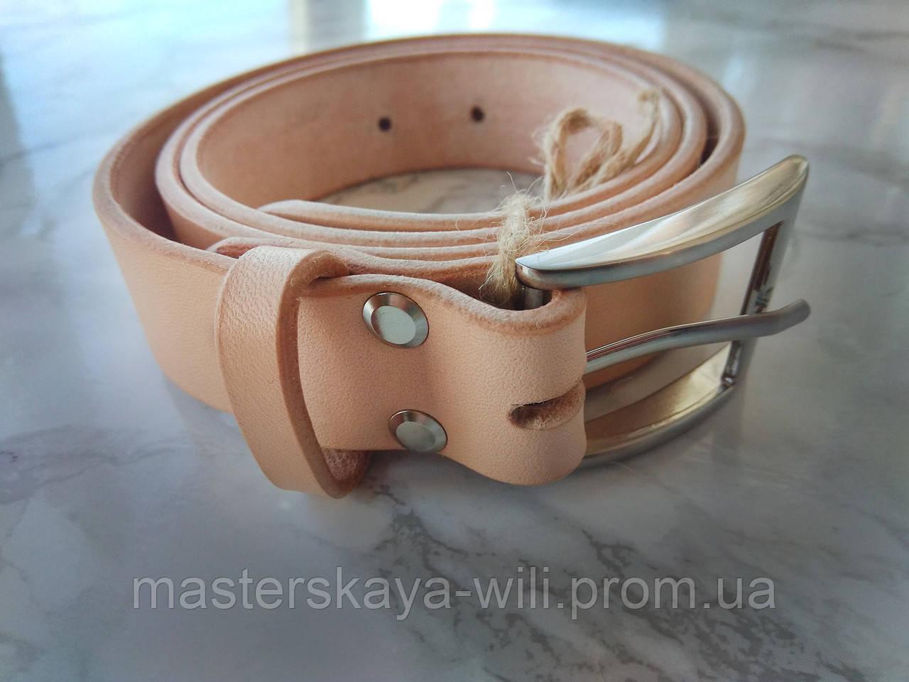 Кожаный ремень ручной работы, цвет телесный(30 см)